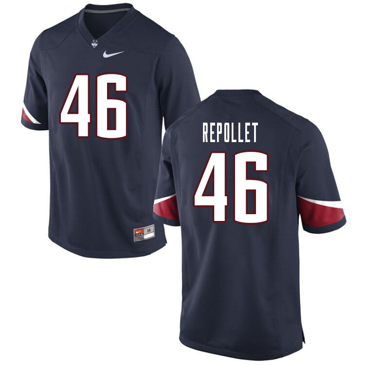 Men #46 Anthony Repollet Uconn Huskies College Football Jerseys Sale-Navy