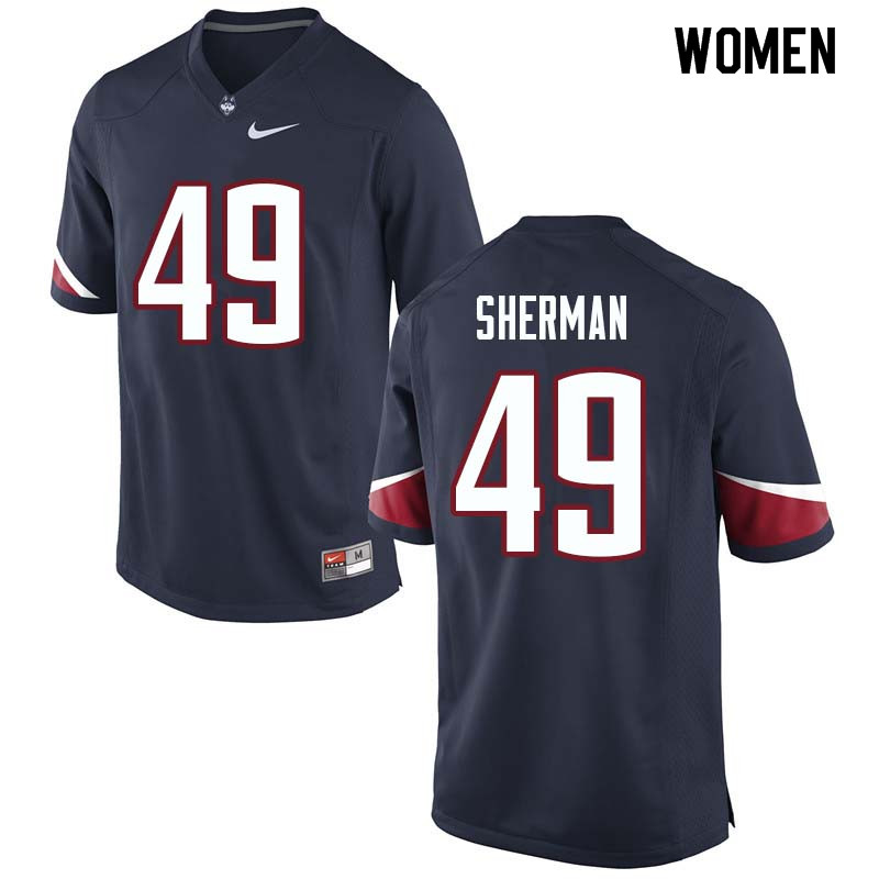 Women #49 Anthony Sherman Uconn Huskies College Football Jerseys Sale-Navy