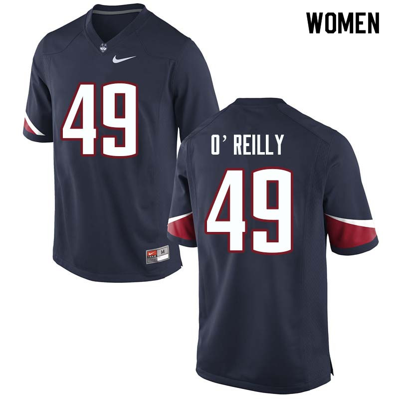 Women #49 Donevin O'Reilly Uconn Huskies College Football Jerseys Sale-Navy