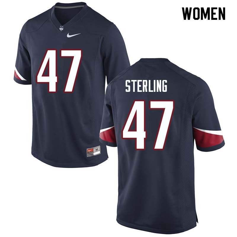 Women #47 Santana Sterling Uconn Huskies College Football Jerseys Sale-Navy