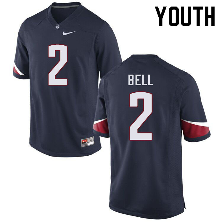 Youth #2 Myles Bell Uconn Huskies College Football Jerseys Sale-Navy