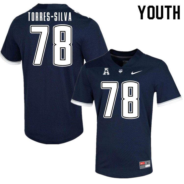 Youth #78 Andrew Torres-Silva Uconn Huskies College Football Jerseys Sale-Navy