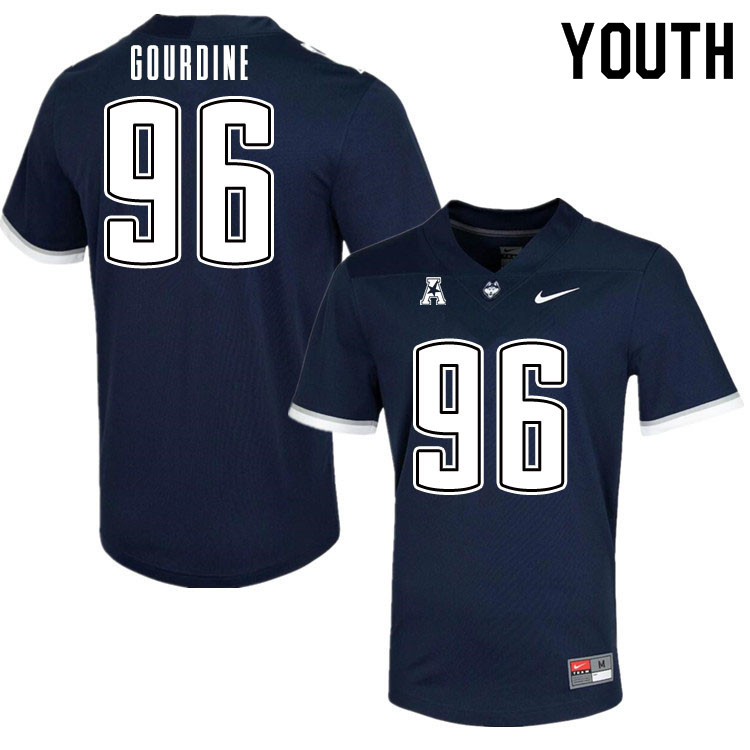 Youth #96 Dal'mont Gourdine Uconn Huskies College Football Jerseys Sale-Navy
