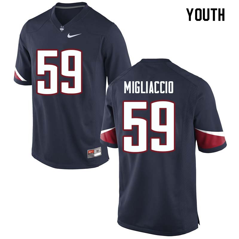 Youth #59 Andrew Migliaccio Uconn Huskies College Football Jerseys Sale-Navy