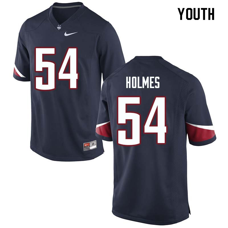 Youth #54 Robert Holmes Uconn Huskies College Football Jerseys Sale-Navy